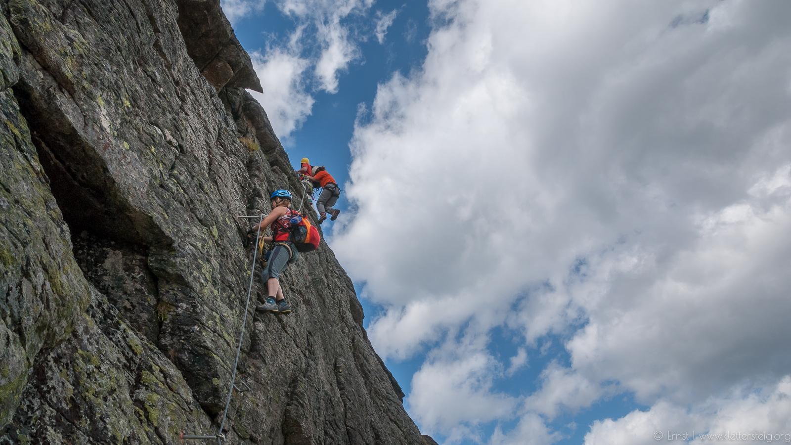 Silvapark Klettersteig eine Schlüsselstelle